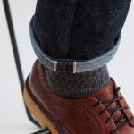 Selvedge Denim with Selvedge Signature , Hemmed bottom and Brown Leather Boot